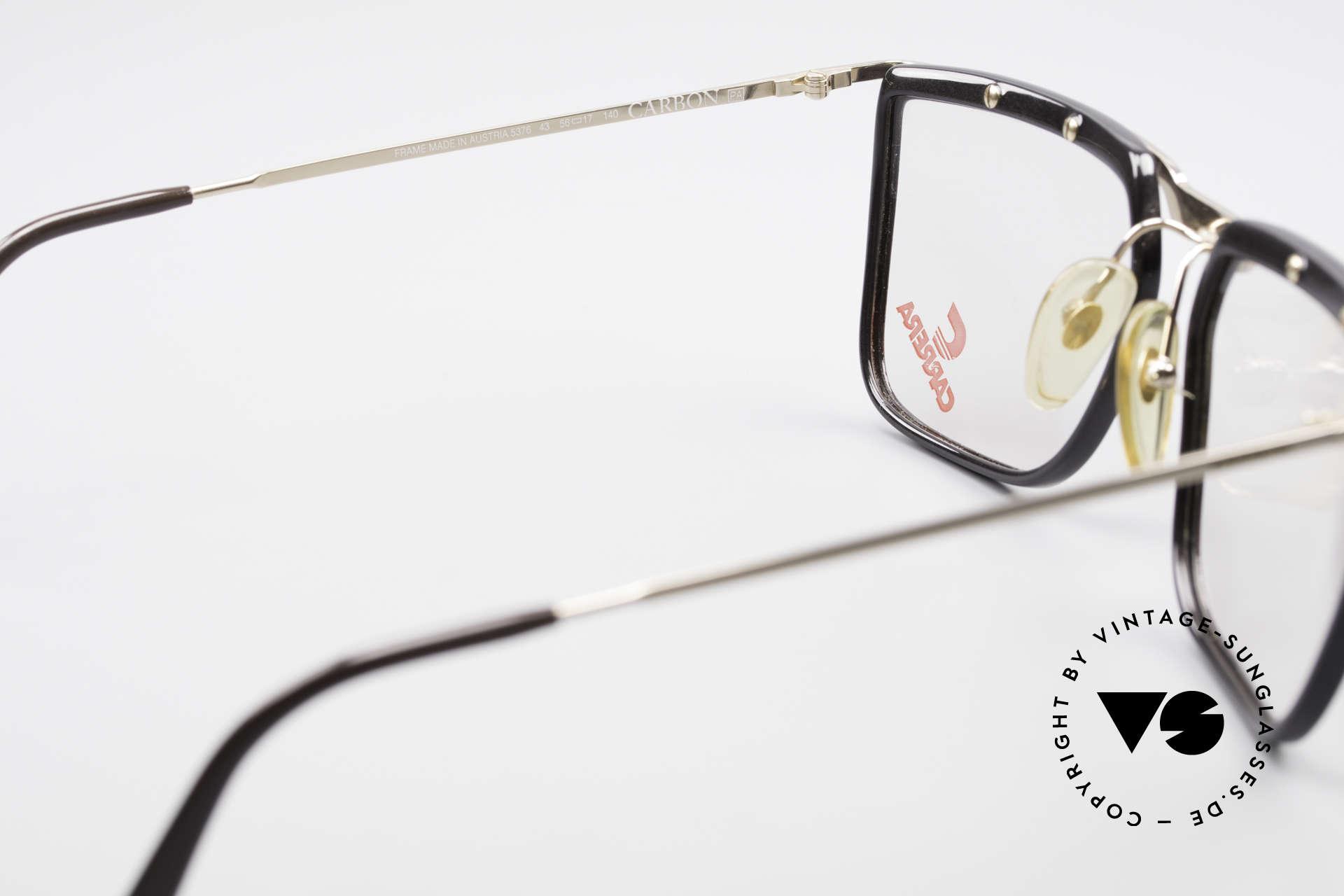 Carrera 5376 Eckige Vintage Brille Carbon, KEINE Retrobrille, sondern ein altes 90er Original, Passend für Herren