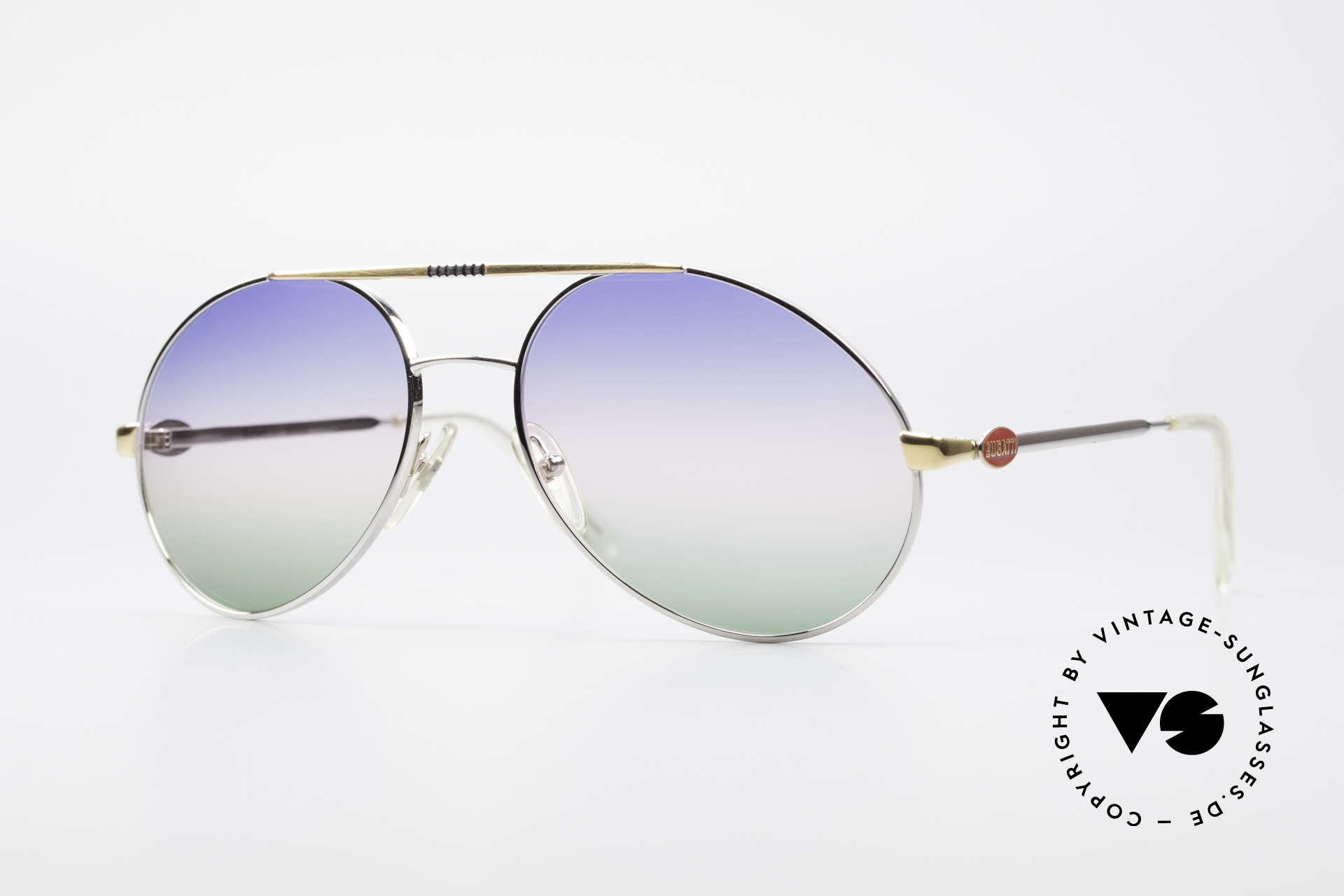 Bugatti 65982 Rare Vintage 80er Sonnenbrille, klassische 80er Bugatti Designer Sonnenbrille, Passend für Herren