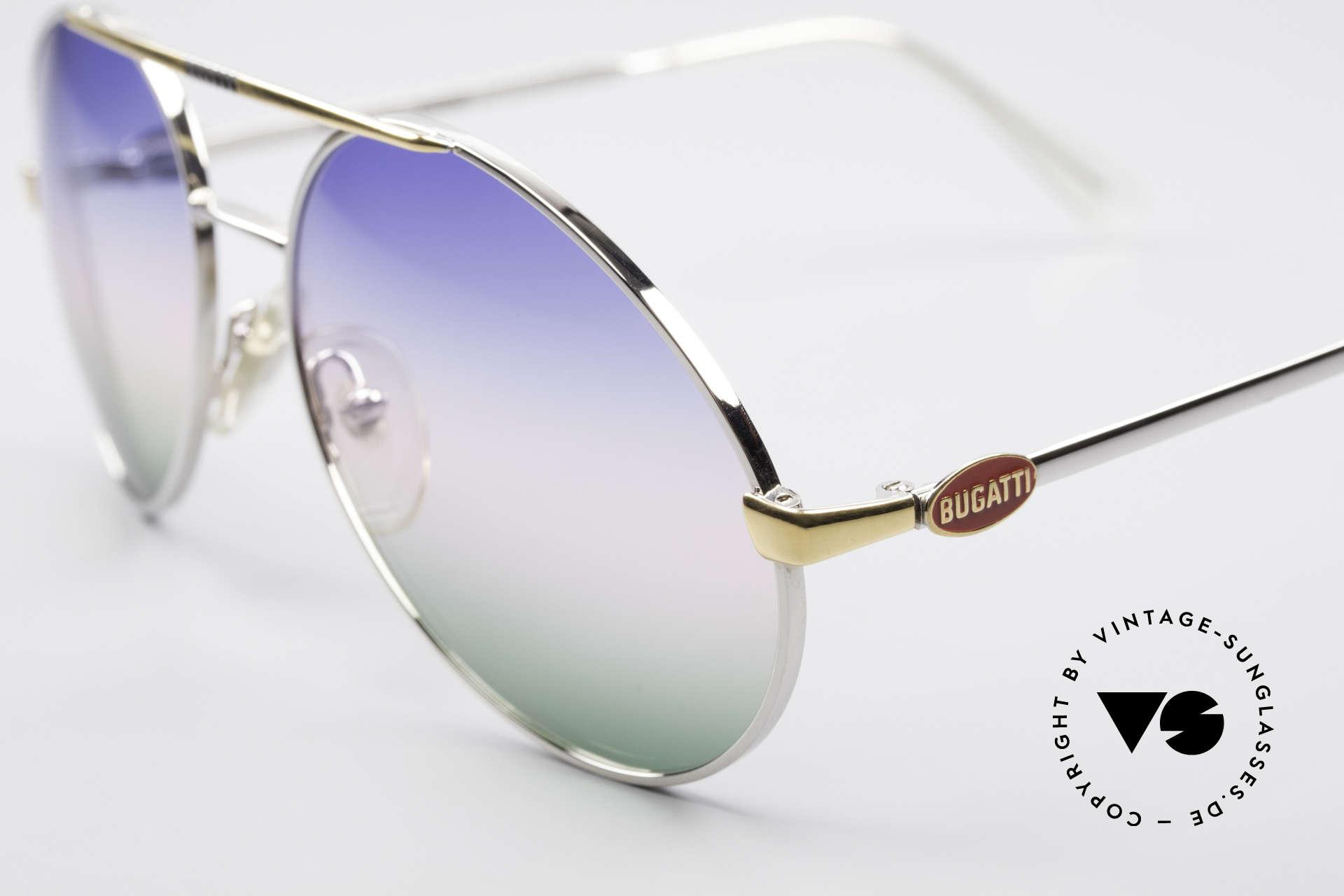Bugatti 65982 Rare Vintage 80er Sonnenbrille, silberne Fassung & Gläser mit Dreifach-Verlauf, Passend für Herren