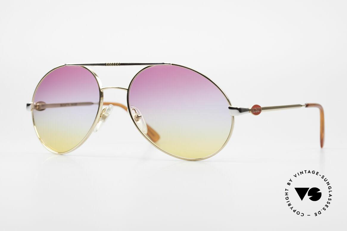 Bugatti 64320 Rare 80er Sonnenbrille Vintage, klassische 80er Bugatti Designer Sonnenbrille, Passend für Herren
