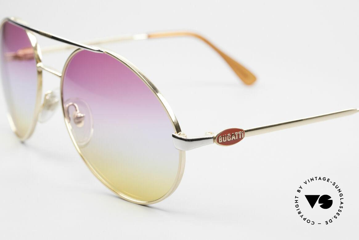 Bugatti 64320 Rare 80er Sonnenbrille Vintage, goldene Fassung & Gläser mit Dreifach-Verlauf, Passend für Herren