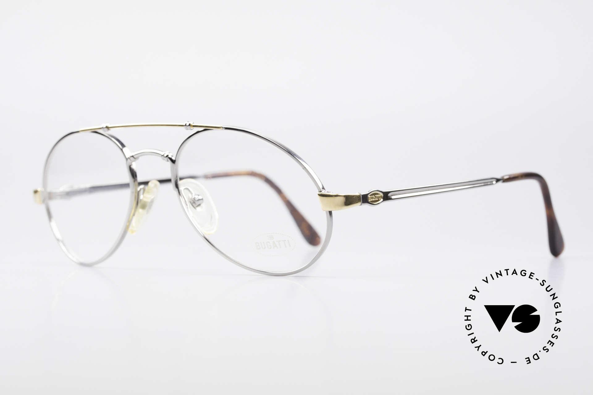 Bugatti 18526 80er Herren Vintage Brille, flexible Federgelenke und exzellente Verarbeitung, Passend für Herren