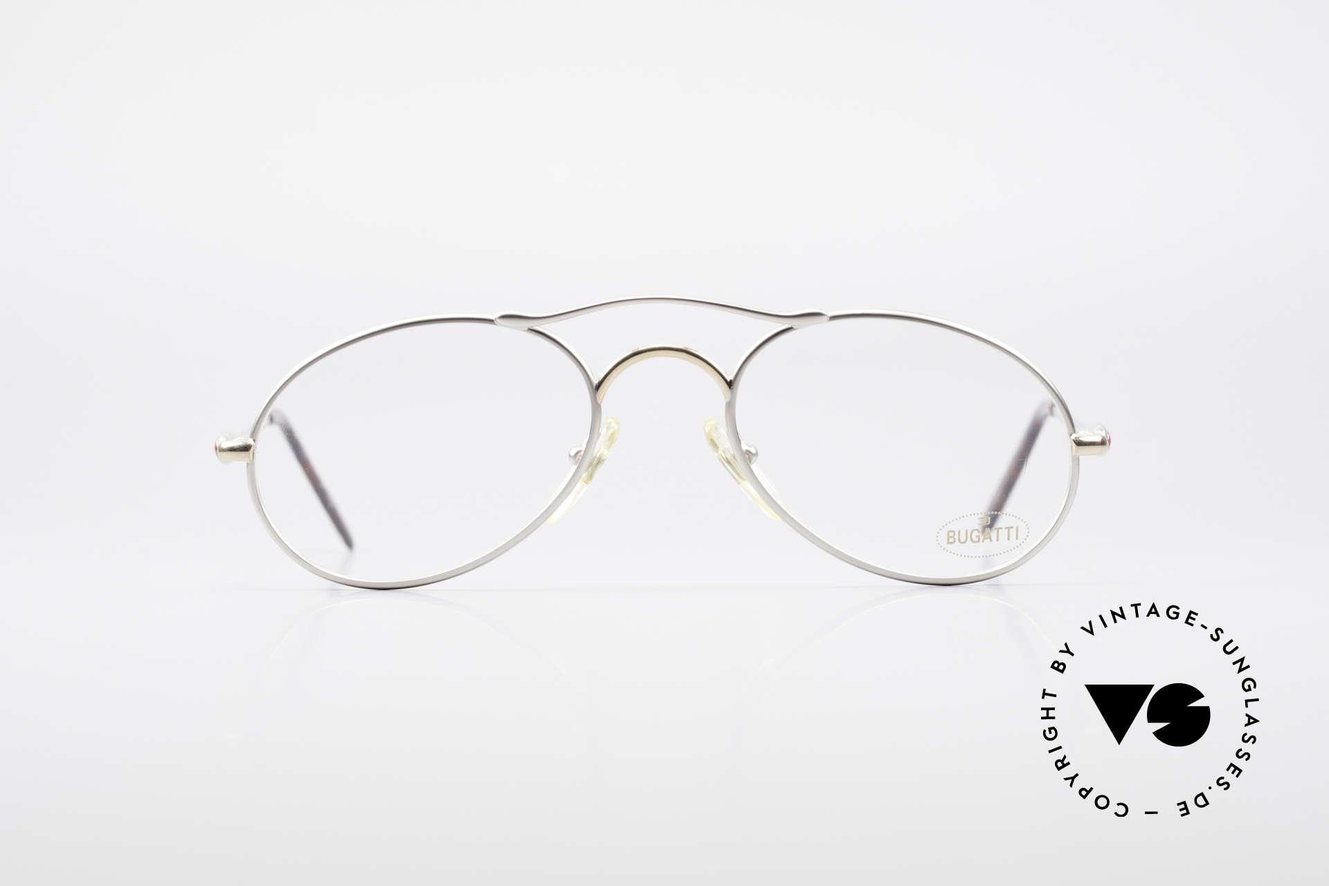 Bugatti 23439 Vintage Brille Mit Sonnenclip, ca. Mitte der 1990er in Frankreich produziert, Passend für Herren