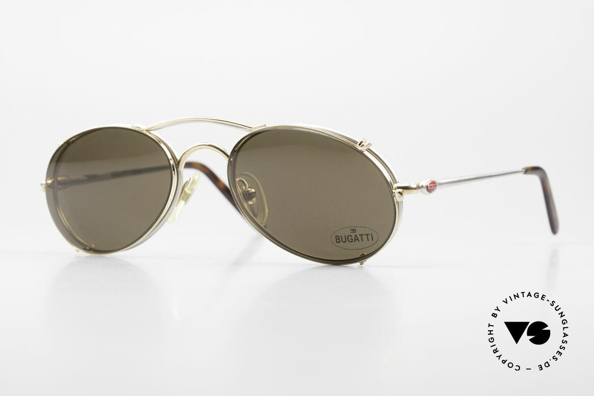 Bugatti 23439 Vintage Brille Mit Sonnenclip, sehr elegantes BUGATTI vintage Brillengestell, Passend für Herren