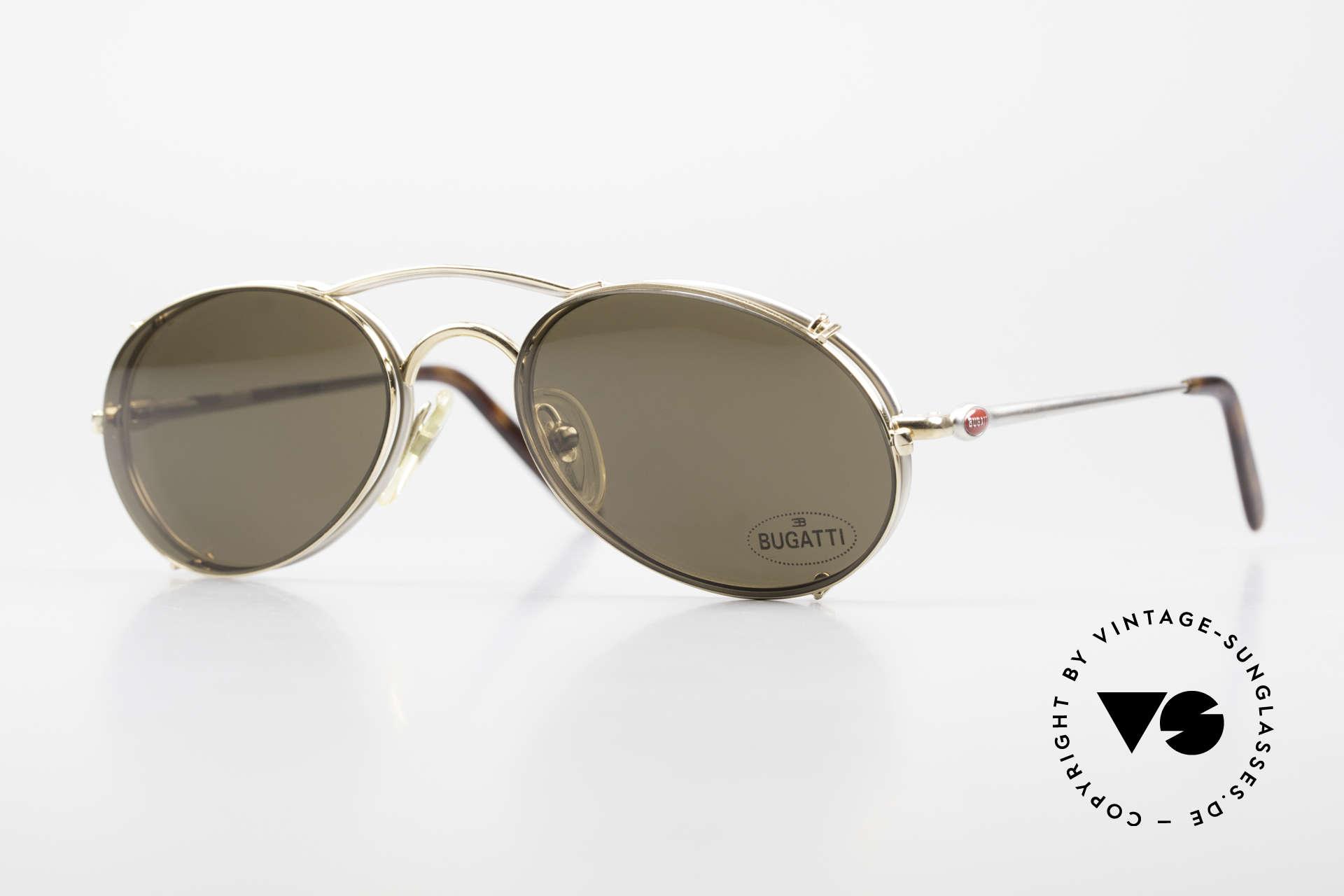 Bugatti 23439 Vintage Brille Mit Sonnenclip, hoher Komfort und Passform durch Federgelenke, Passend für Herren