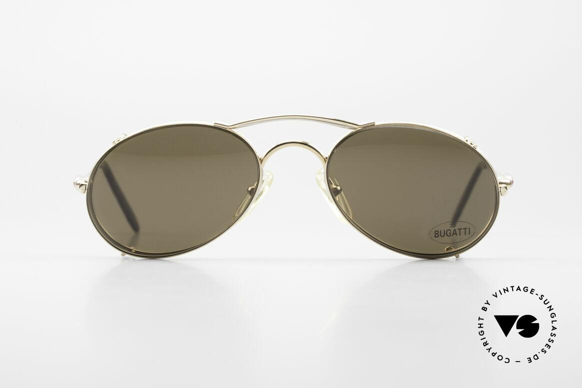 Bugatti 23439 Vintage Brille Mit Sonnenclip, beste Materialien in erstklassiger Verarbeitung, Passend für Herren