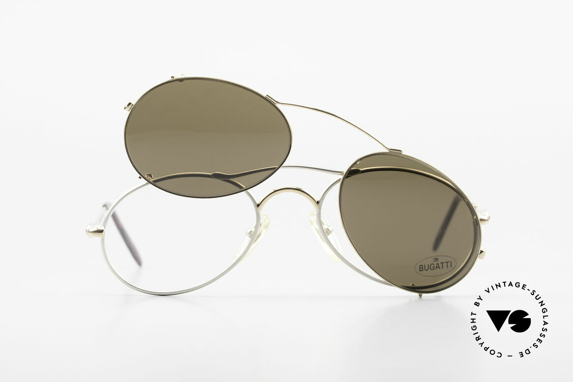 Bugatti 23439 Vintage Brille Mit Sonnenclip, ungetragen (wie alle unsere Bugatti Fassungen), Passend für Herren