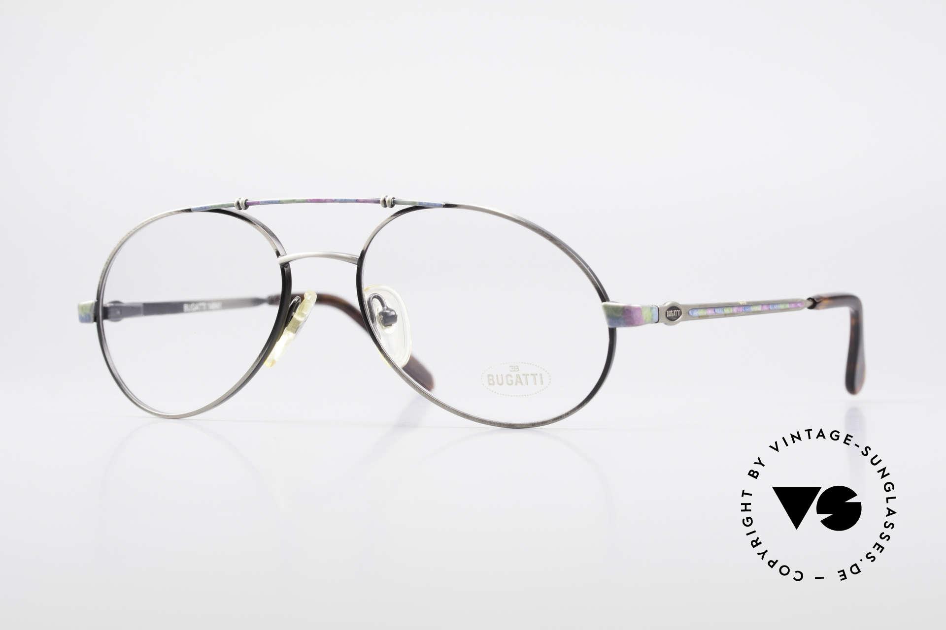 Bugatti 14841 Titanium 80er Vintage Brille, sehr elegante Designer-Brillenfasung von Bugatti, Passend für Herren