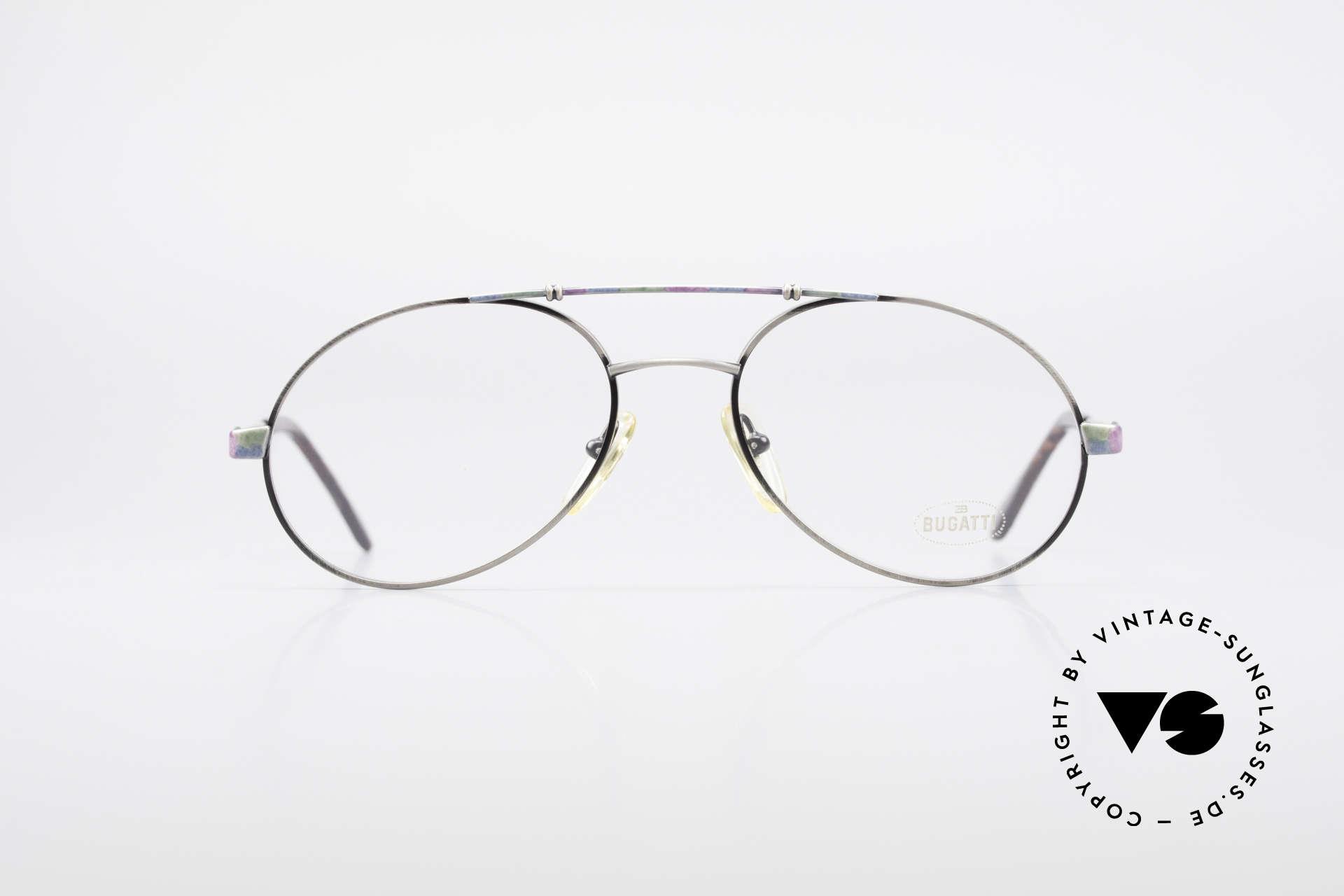 """Bugatti 14841 Titanium 80er Vintage Brille, typische 80er Jahre Bugatti Herren-""""Tropfenform"""", Passend für Herren"""