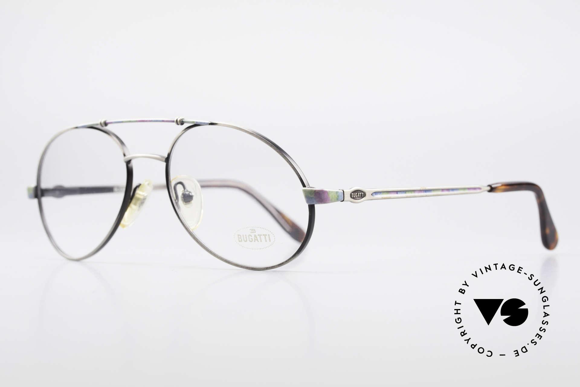 Bugatti 14841 Titanium 80er Vintage Brille, flexible Federgelenke und exzellente Verarbeitung, Passend für Herren