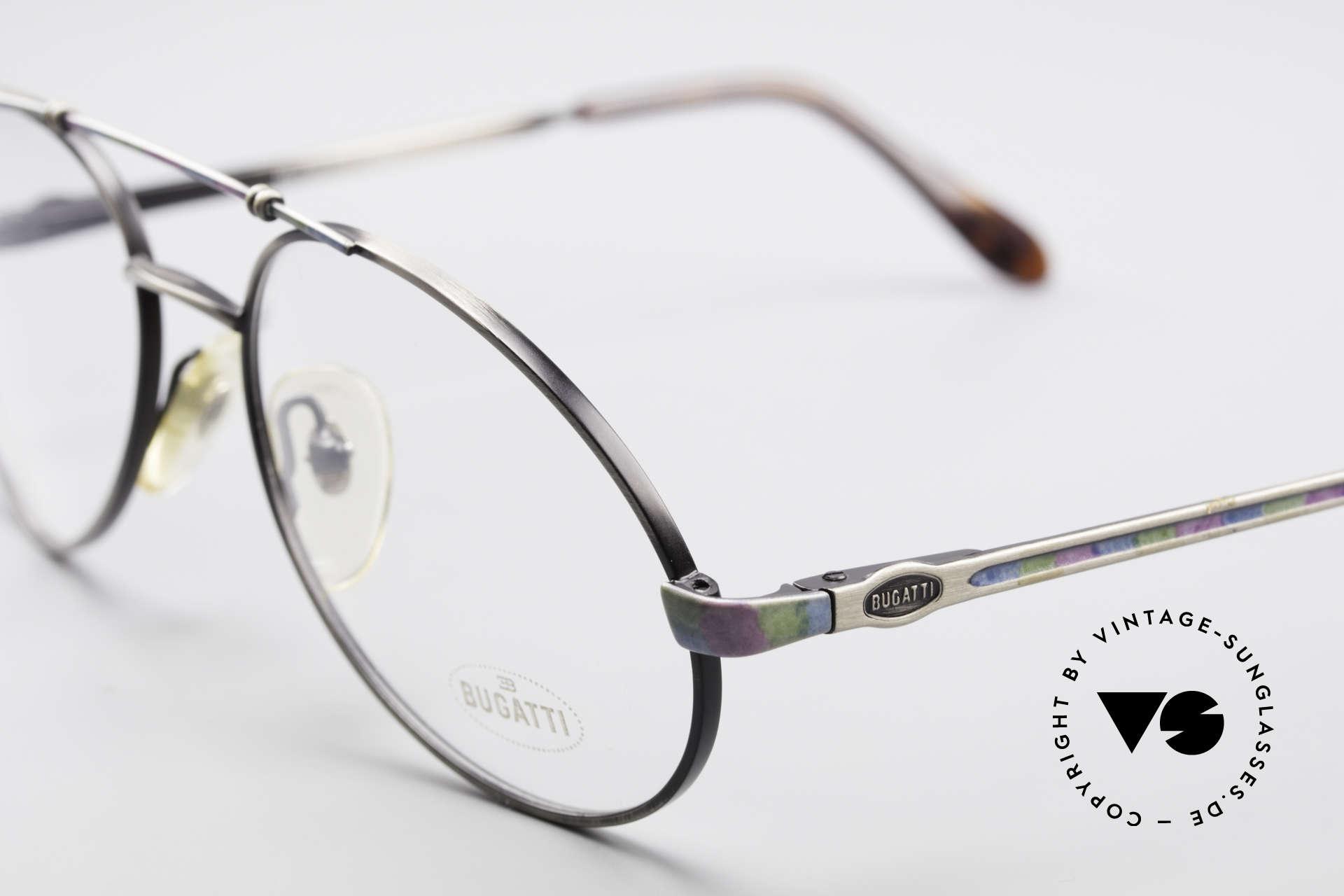 Bugatti 14841 Titanium 80er Vintage Brille, edle Rahmenlackierung: bunter Titanium-Schimmer, Passend für Herren