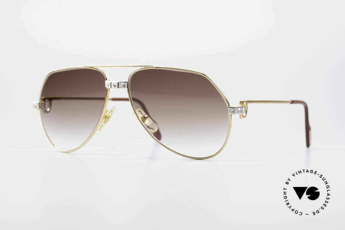 Cartier Vendome Santos - S Customized Crystal Edition, kostbare 1980er Cartier vintage Aviator Sonnenbrille, Passend für Herren und Damen