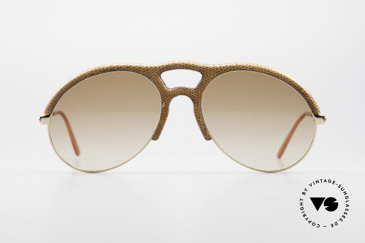 Bugatti 64738 70er Leder Sonnenbrille Echse, Bugatti Designer Luxus-Sonnenbrille aus den 70ern, Passend für Herren