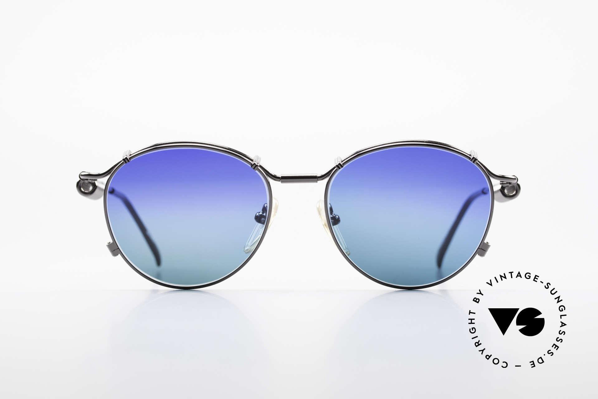 Jean Paul Gaultier 56-9174 Industrial 90er Sonnenbrille, typisches mechanisches J.P.G. Industrial-Design, Passend für Herren und Damen