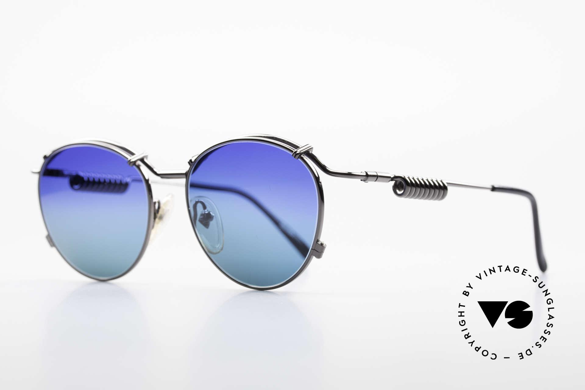 Jean Paul Gaultier 56-9174 Industrial 90er Sonnenbrille, die Metallbügel sind geformt wie eine Stromspule, Passend für Herren und Damen
