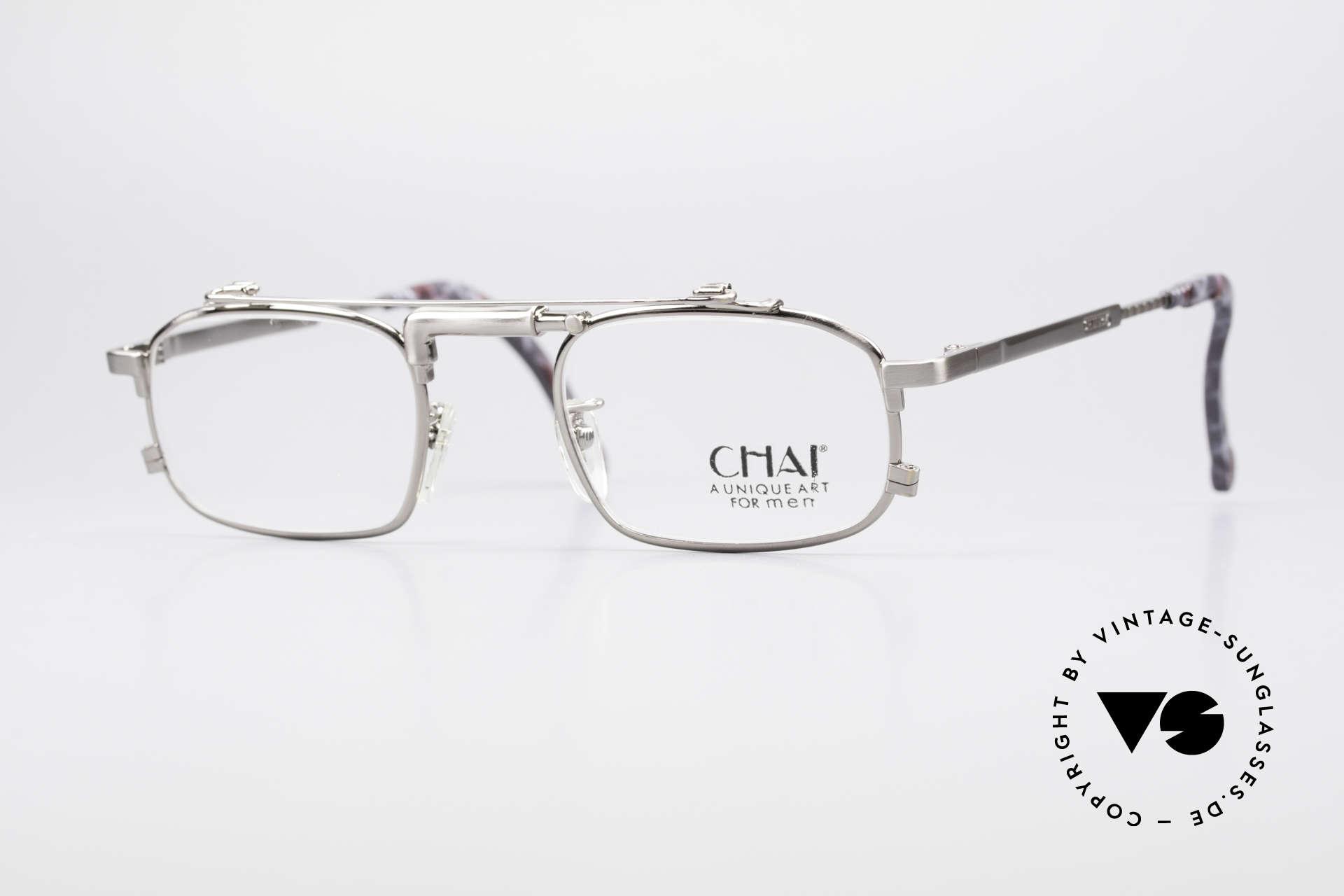 Chai No4 Square Industrial Vintage Brille 90er, außergewöhnliche CHAI vintage Brillen-Fassung, Passend für Herren und Damen