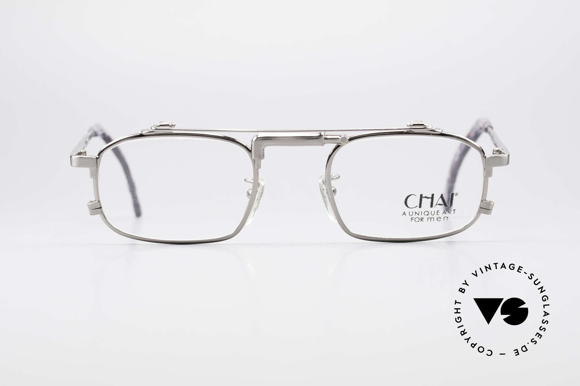 Chai No4 Square Industrial Vintage Brille 90er, Design der Brücke erinnert an einen Wasserhahn, Passend für Herren und Damen