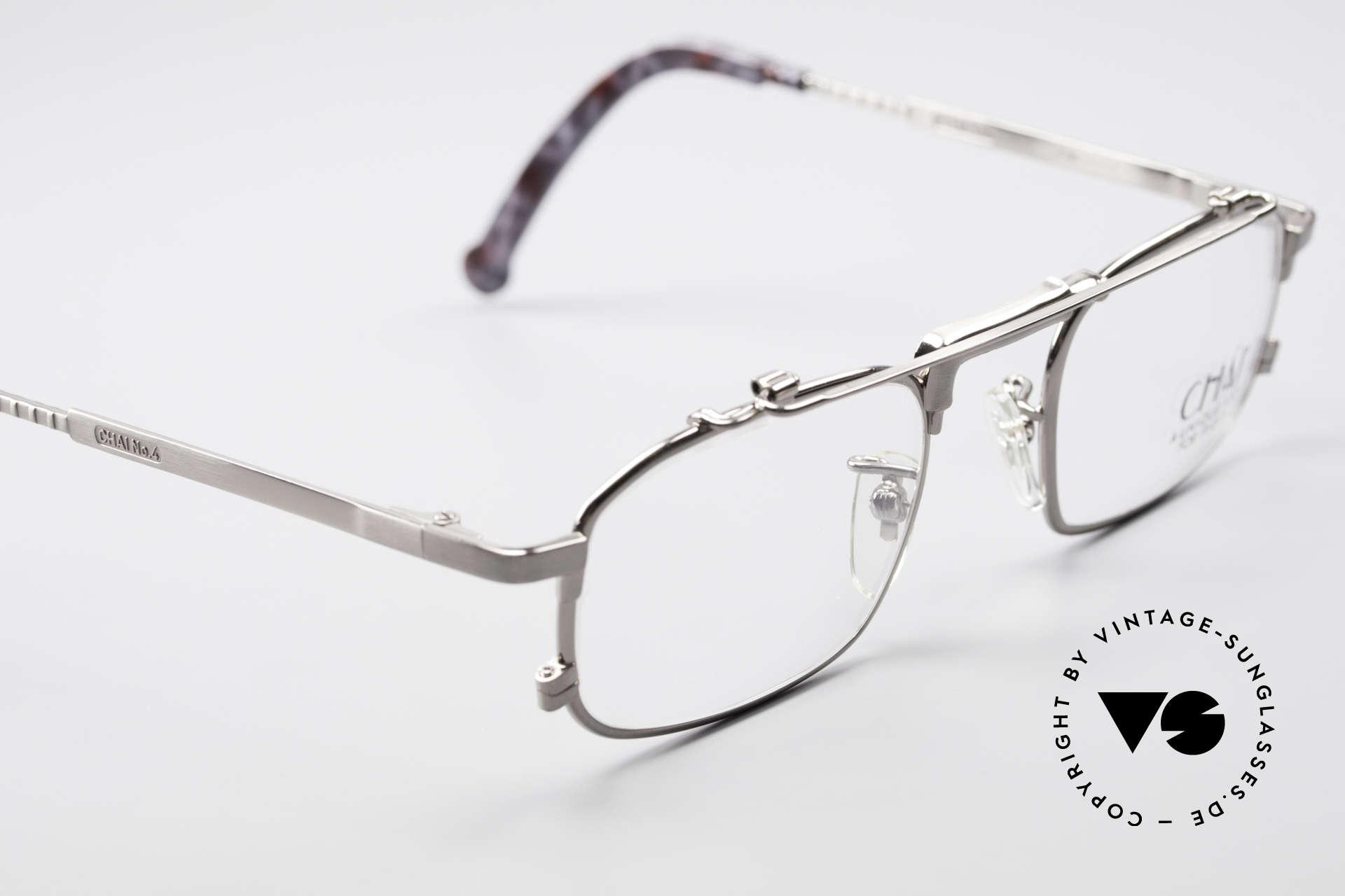 Chai No4 Square Industrial Vintage Brille 90er, ungetragen (wie alle unsere CHAI Designerstücke), Passend für Herren und Damen
