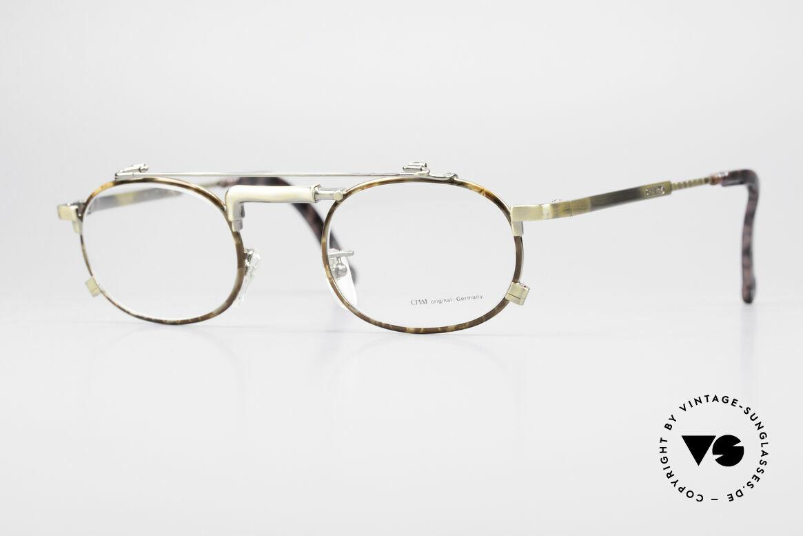 Chai No4 Oval Vintage Brille Industrial 90er, außergewöhnliche CHAI vintage Brillen-Fassung, Passend für Herren und Damen
