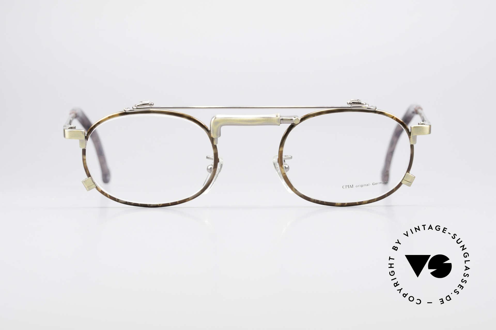 Chai No4 Oval Vintage Brille Industrial 90er, Design der Brücke erinnert an einen Wasserhahn, Passend für Herren und Damen
