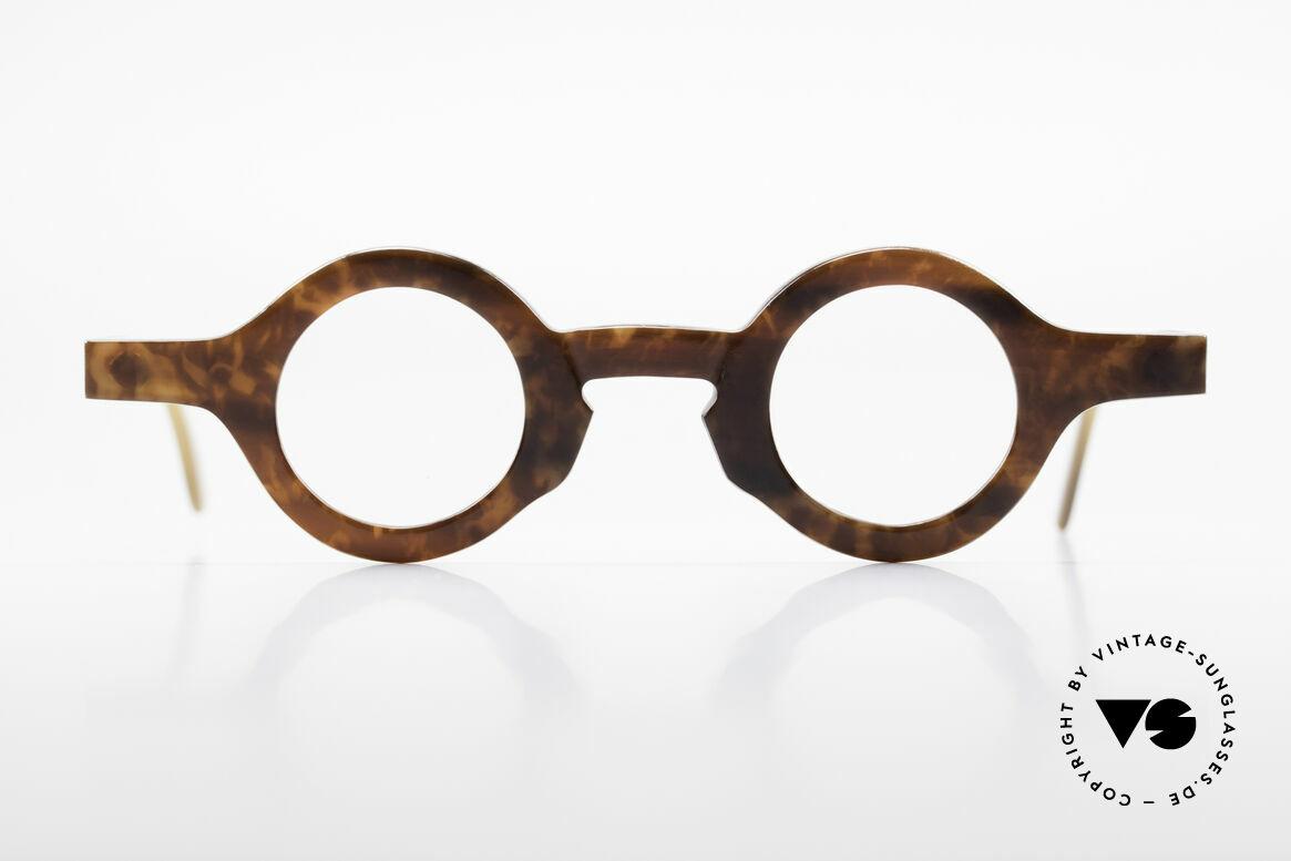 Proksch's P218 Runde Büffelhorn Brille 80er, absolute Rarität aus Büffelhorn in Handarbeit gefertigt, Passend für Herren und Damen