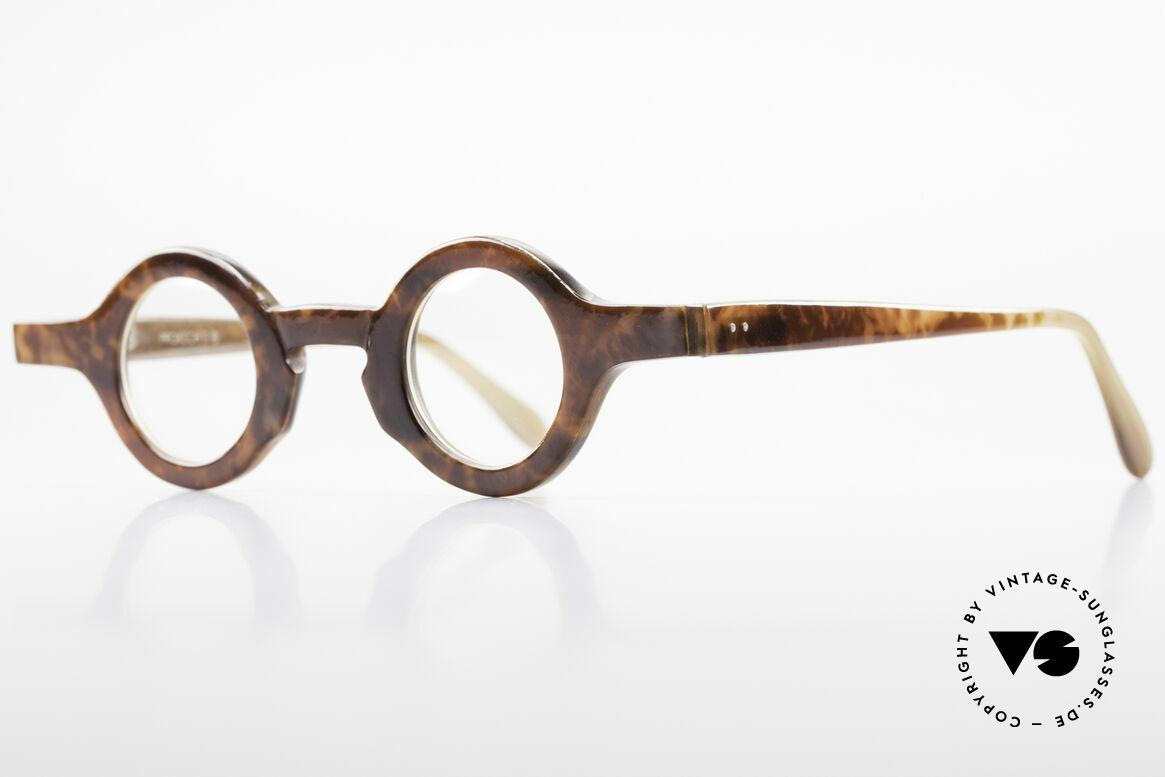 Proksch's P218 Runde Büffelhorn Brille 80er, einzigartiger Rahmen, jedes Horn-Modell ist individuell, Passend für Herren und Damen