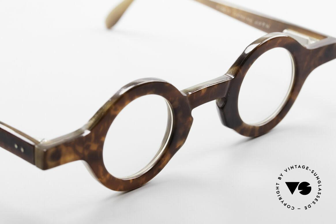 Proksch's P218 Runde Büffelhorn Brille 80er, ungetragenes vintage Original aus den späten 1980ern, Passend für Herren und Damen
