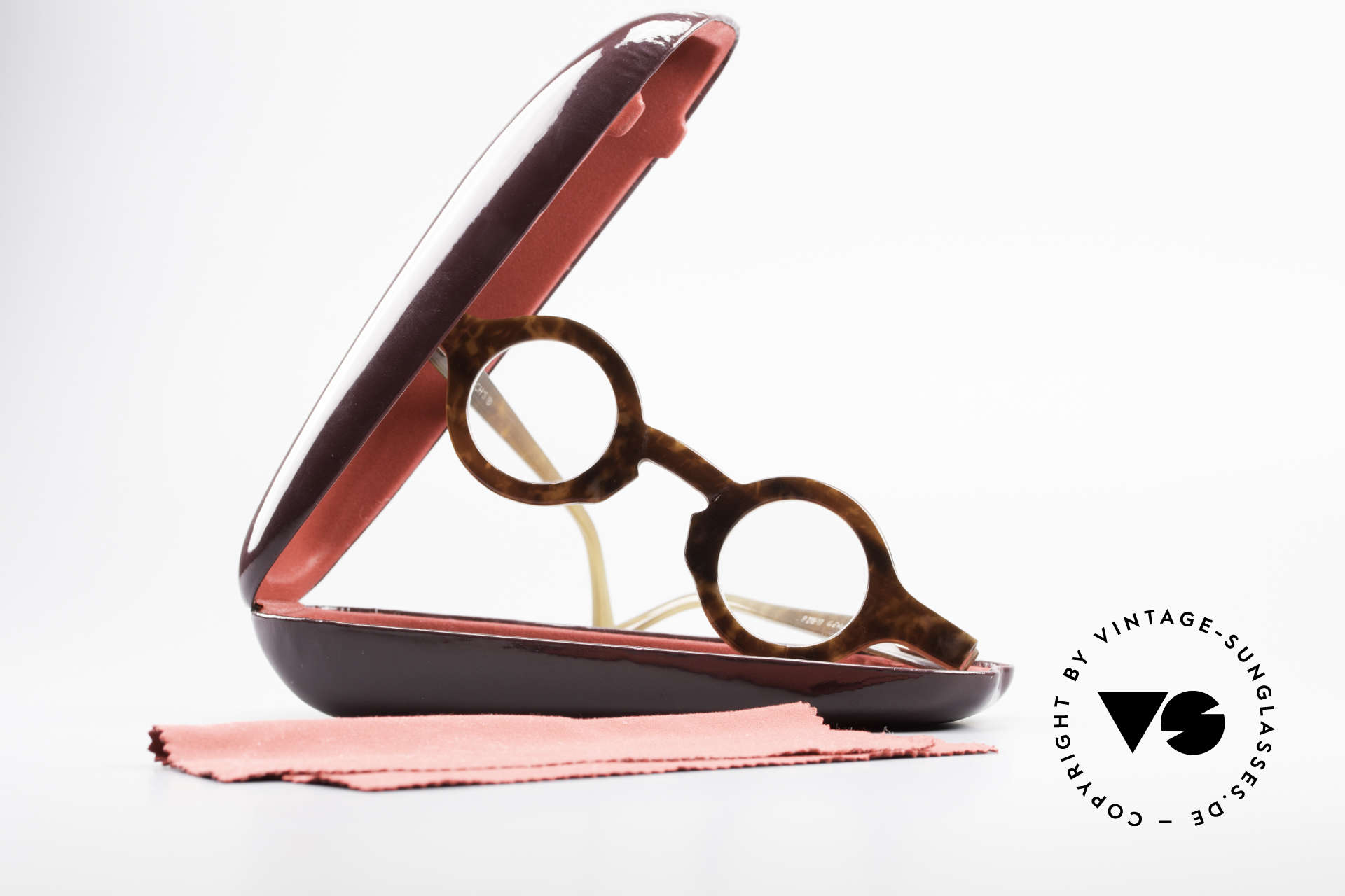 Proksch's P218 Runde Büffelhorn Brille 80er, Größe: medium, Passend für Herren und Damen