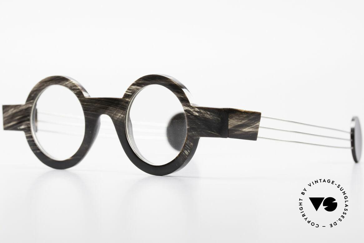 P. Klenk Bold 023 Horn Brille Eindrehbare Bügel, einzigartiger Rahmen, jedes Horn-Modell ist individuell, Passend für Herren und Damen