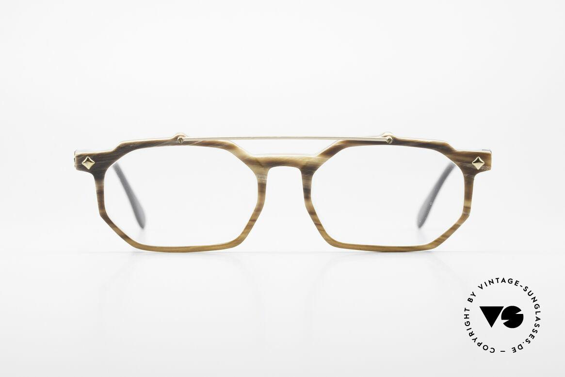 MCM München 301 Büffelhorn Vintage Brille 80er, aus echtem Büffelhorn mit 'MCM' Applikationen, Passend für Herren und Damen