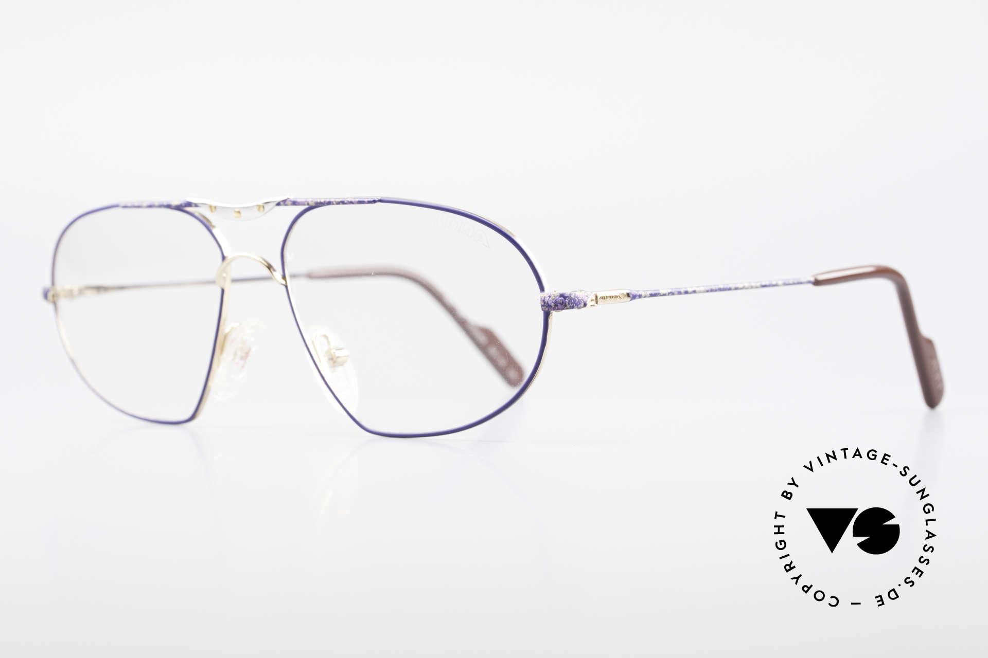 Alpina M1F755 Alte Klassische Herren Brille, vergoldete Fassung & markante blaue Lackierung, Passend für Herren