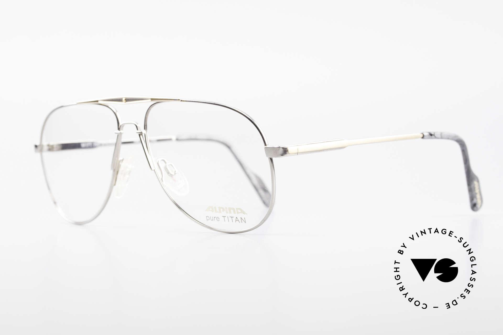 Alpina M1FT Vintage Aviator Titan Brille, sehr leicht u. entsprechend angenehm zu tragen, Passend für Herren