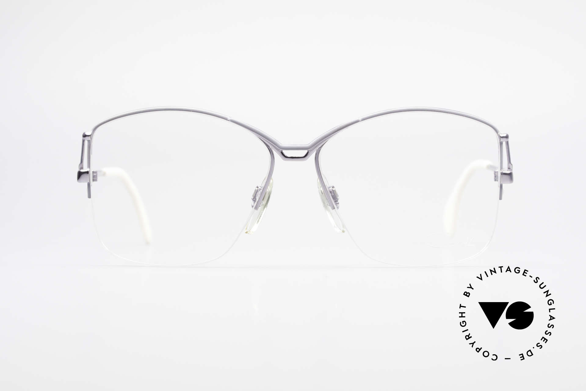Cazal 222 80er Original Keine Retrobrille, großer halb offener Metall-Rahmen in grau, Passend für Damen