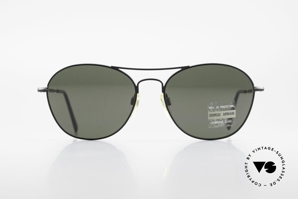 Giorgio Armani 646 Aviator Designer Sonnenbrille, matt-schwarzer Rahmen mit dunkelgrünen Gläsern, Passend für Herren