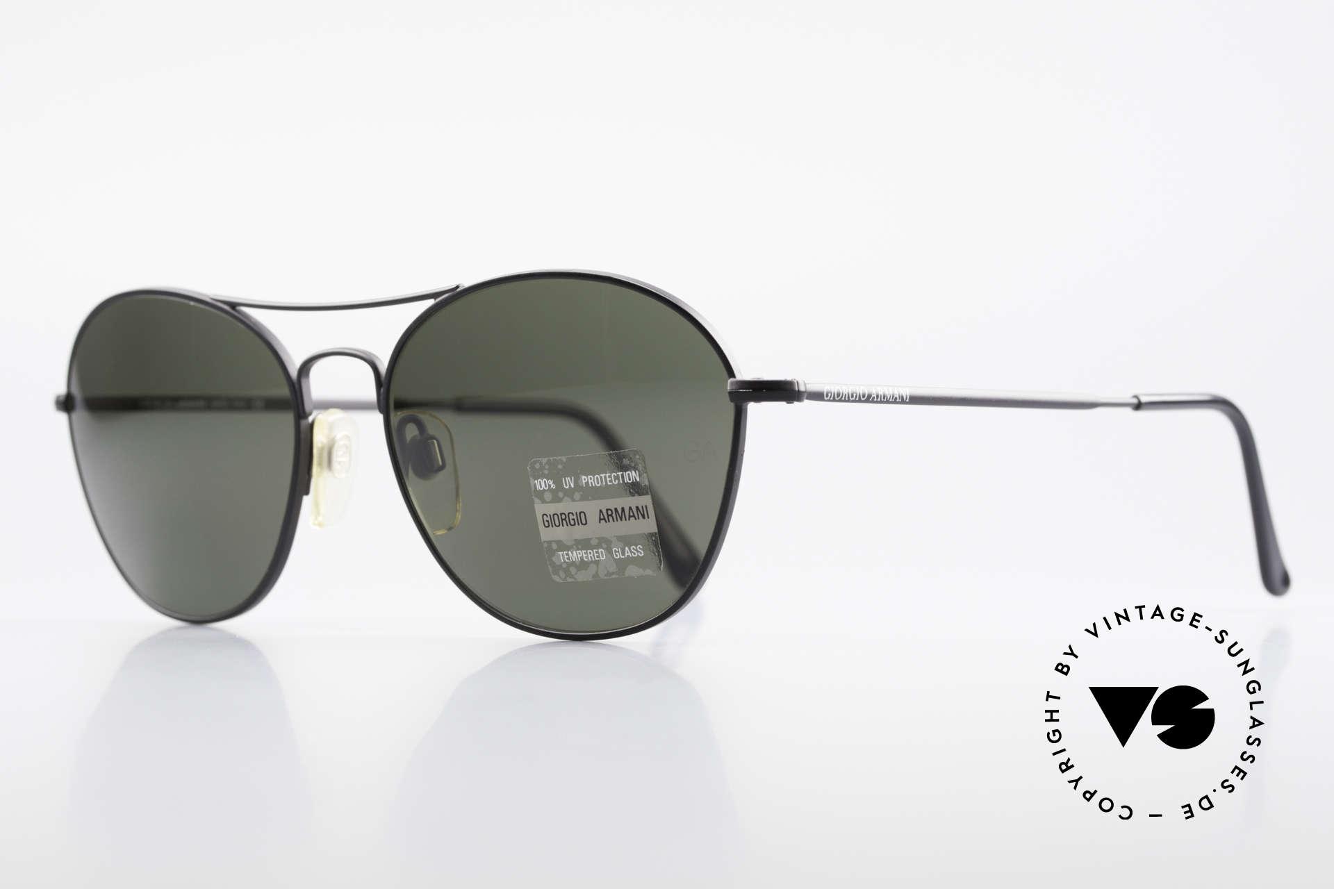 Giorgio Armani 646 Aviator Designer Sonnenbrille, Mineralgläser (100% UV Schutz) mit der GA-Gravur, Passend für Herren