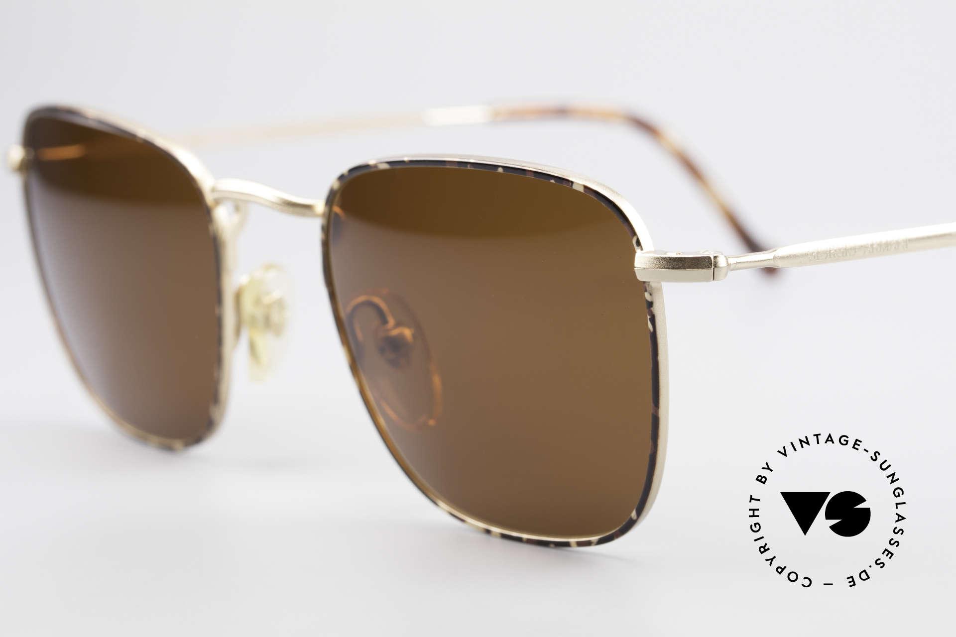 Giorgio Armani 137 Eckige Panto Vintage Brille, Sonnengläser in einem kräftigen Braun (100% UV), Passend für Herren