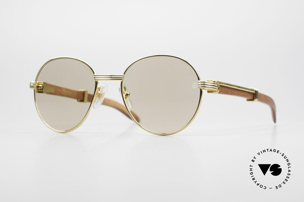 Cartier Bagatelle Bubinga Edelholz Sonnenbrille, außergewöhnliche CARTIER vintage Luxus-Brille, Passend für Herren und Damen