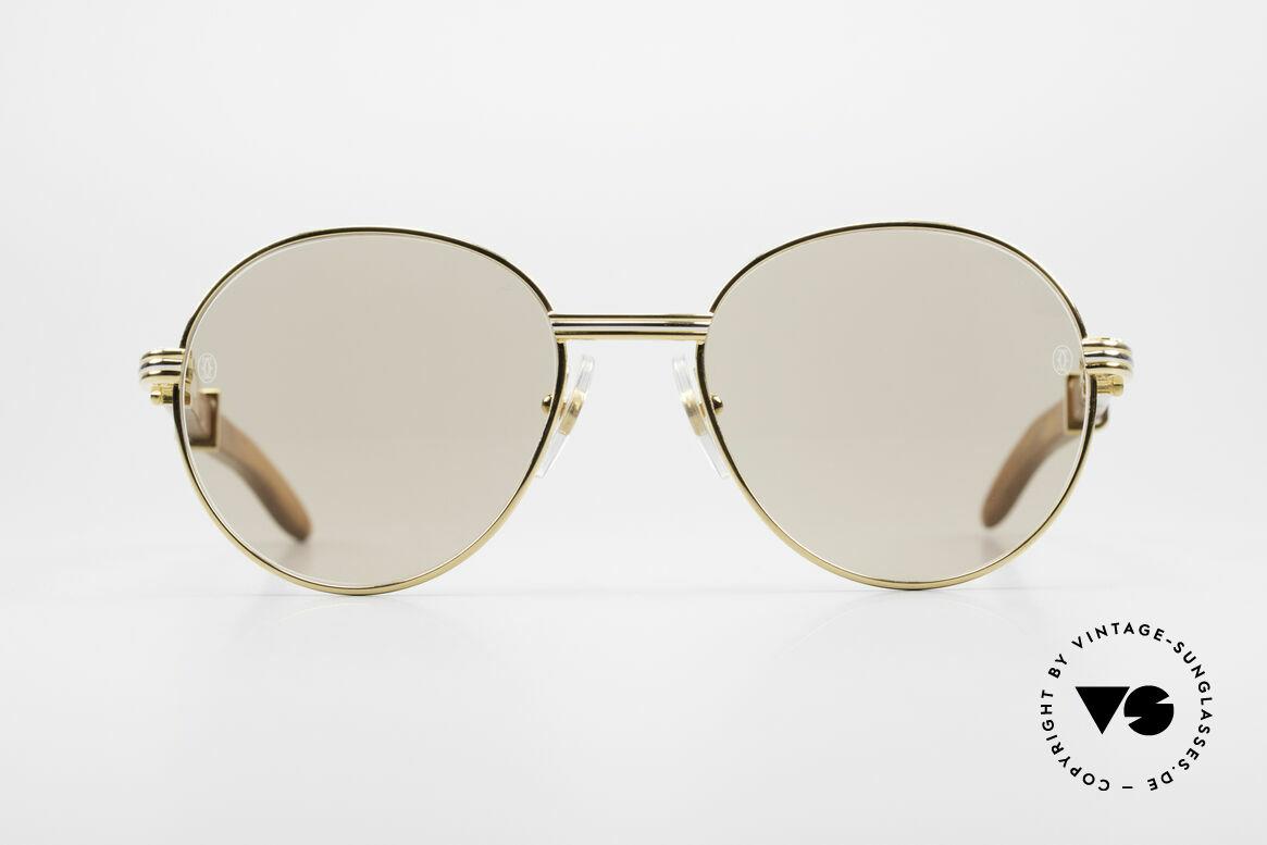 Cartier Bagatelle Bubinga Edelholz Sonnenbrille, aus Palisander-Holz gefertigt, S Größe 52°18, 130, Passend für Herren und Damen