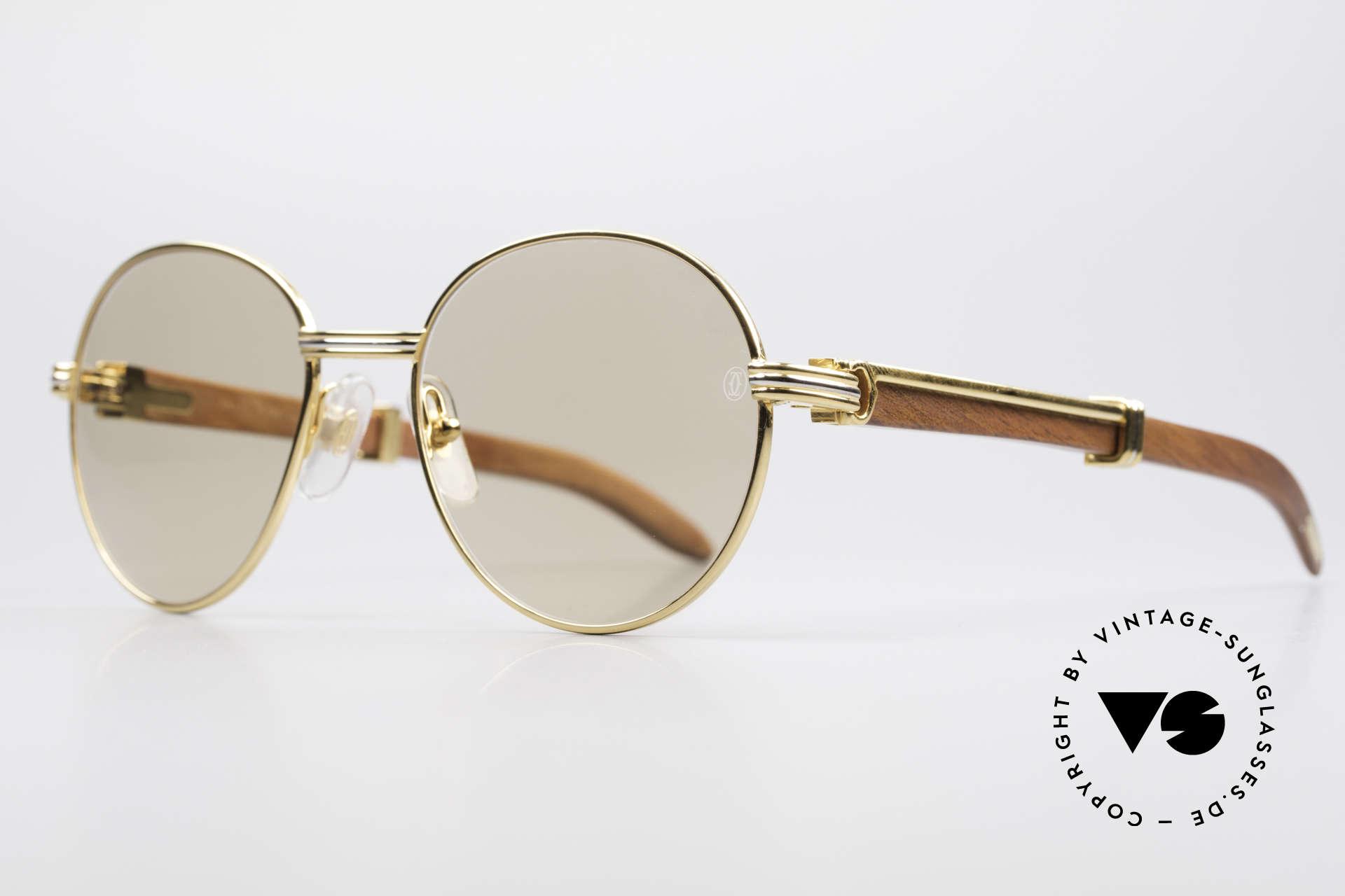 Cartier Bagatelle Bubinga Edelholz Sonnenbrille, kostbare Rarität der teuren 'Precious Wood' Serie, Passend für Herren und Damen