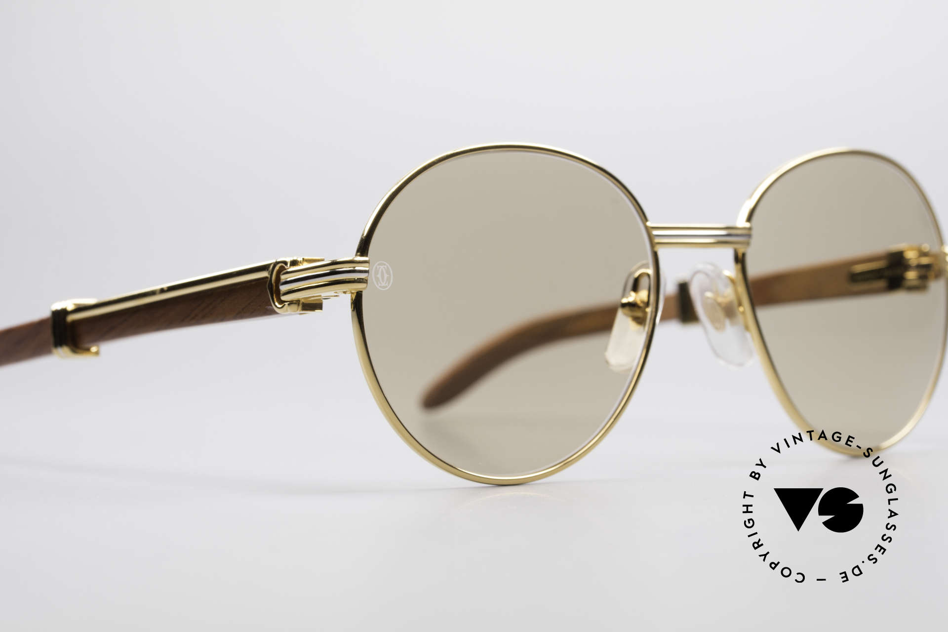Cartier Bagatelle Bubinga Edelholz Sonnenbrille, 22kt vergoldete Fassung mit orig. Sonnengläsern, Passend für Herren und Damen