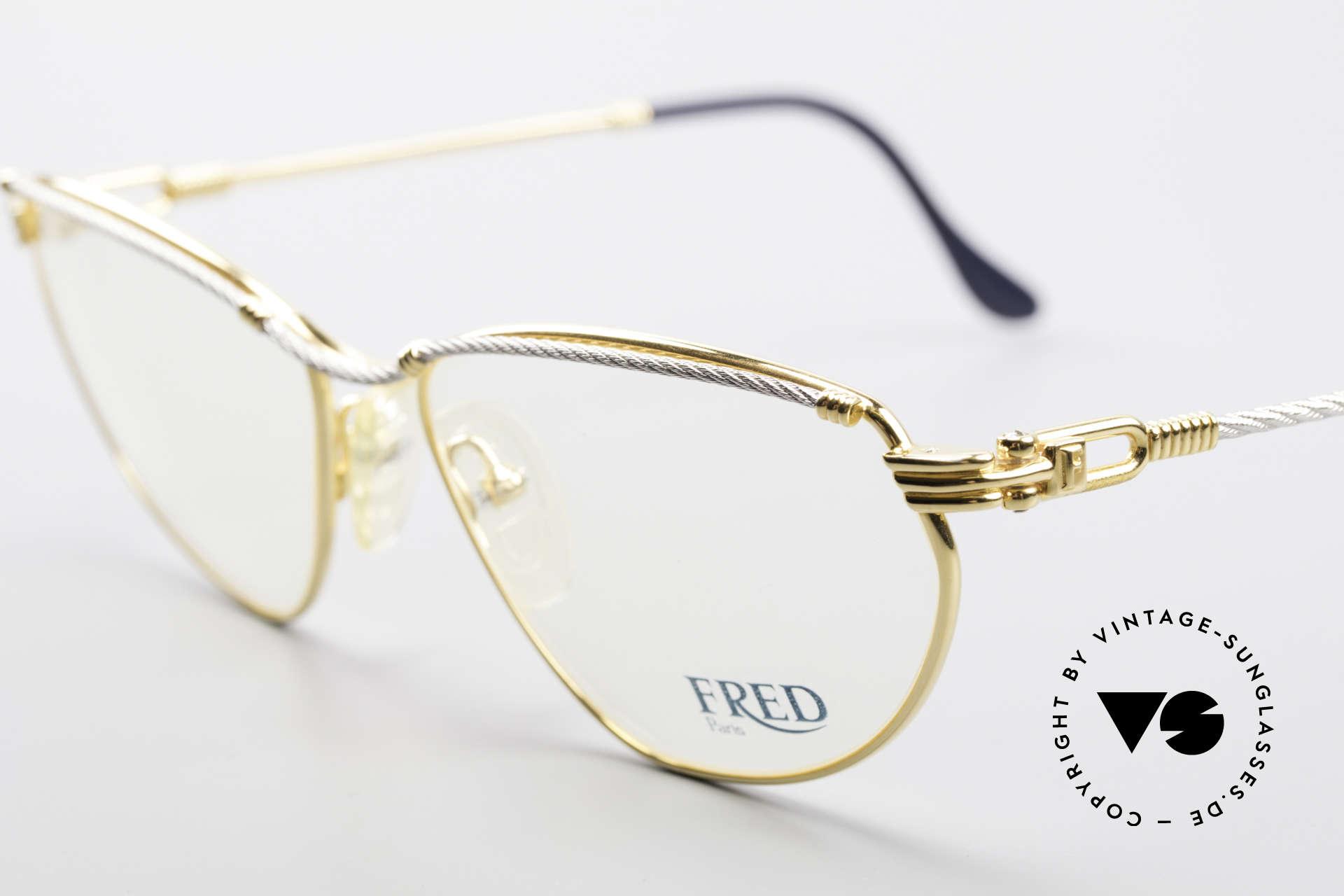 Fred Alize Luxus M Brillenfassung Damen, Bügel und Brücke gedreht wie ein Segeltau; RARITÄT!, Passend für Damen