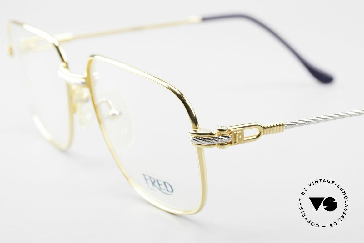 Fred Zephir Luxus Segler Brille Herren, Bügel und Brücke sind gedreht wie ein Segeltau; Unikat, Passend für Herren
