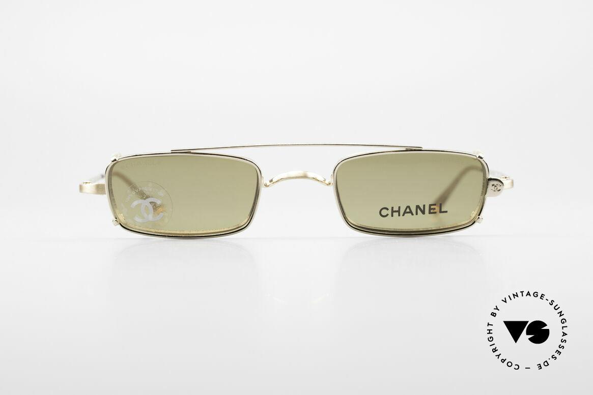 Chanel 2038 Unisex Luxus Brille Sonnenclip, kleine eckige vintage Brille mit genialem SonnenClip, Passend für Herren und Damen