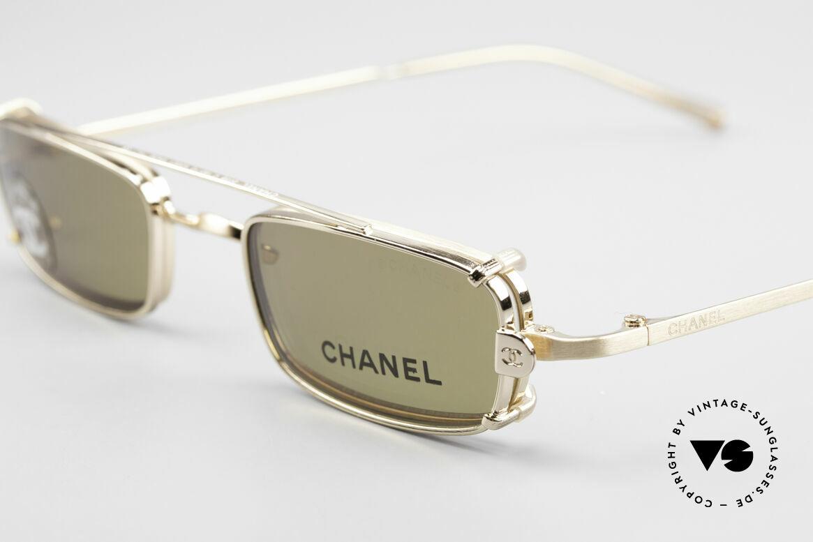 """Chanel 2038 Unisex Luxus Brille Sonnenclip, Sonnengläser in einem """"Gold-Braun""""; 100% UV Schutz, Passend für Herren und Damen"""