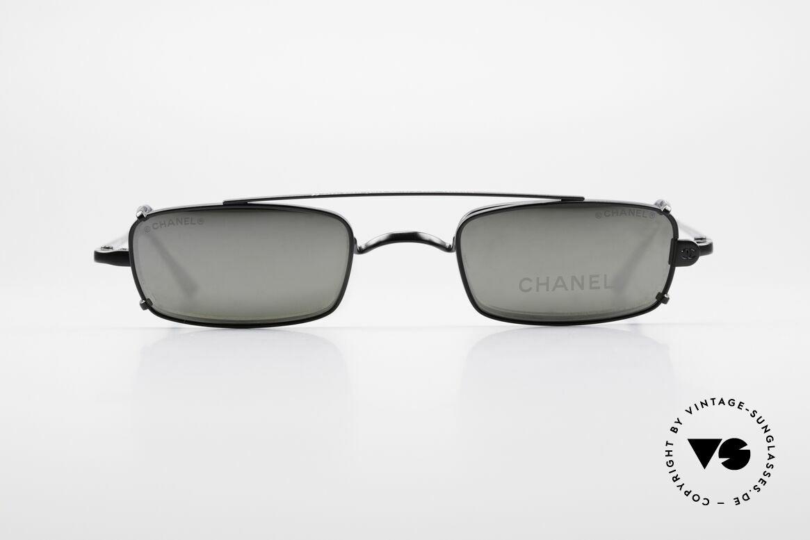 Chanel 2038 Luxus Brille Eckig Sonnenclip, kleine eckige vintage Brille mit genialem SonnenClip, Passend für Herren und Damen