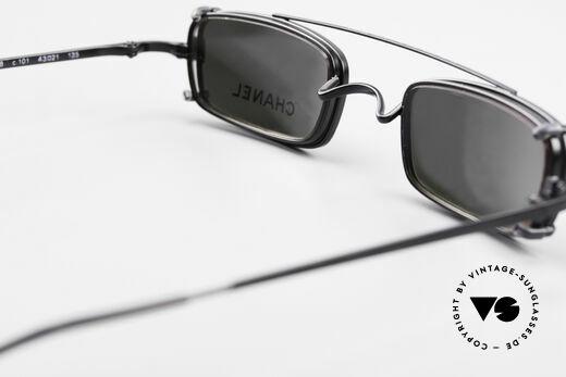 Chanel 2038 Luxus Brille Eckig Sonnenclip, KEINE Retrobrille, sondern ein 20 Jahre altes Original, Passend für Herren und Damen