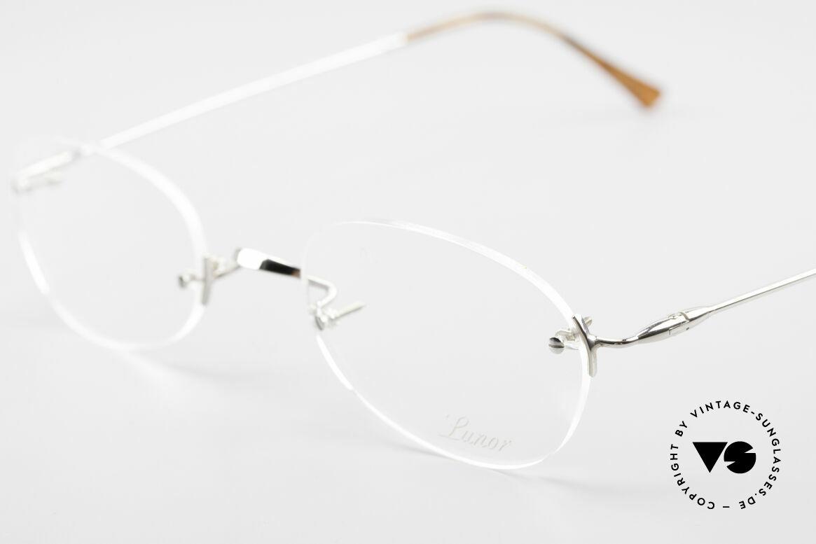 Lunor Rimless Randlose Vintage Brille 90er, bekannt für den W-Steg und die schlichten Formen, Passend für Herren und Damen