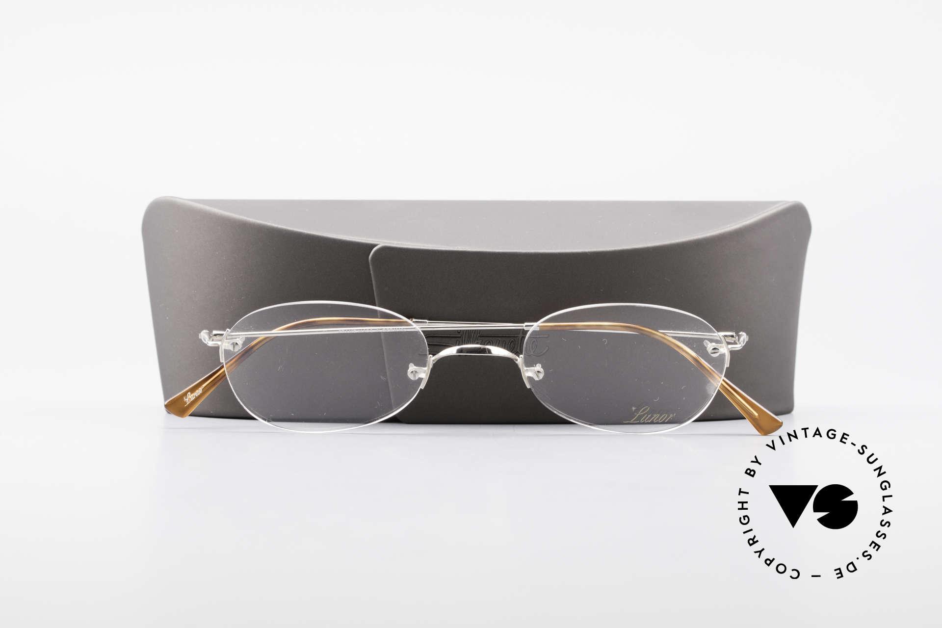 Lunor Rimless Randlose Vintage Brille 90er, Lunor Brille kommt mit einem neuen Silhouette-Etui, Passend für Herren und Damen