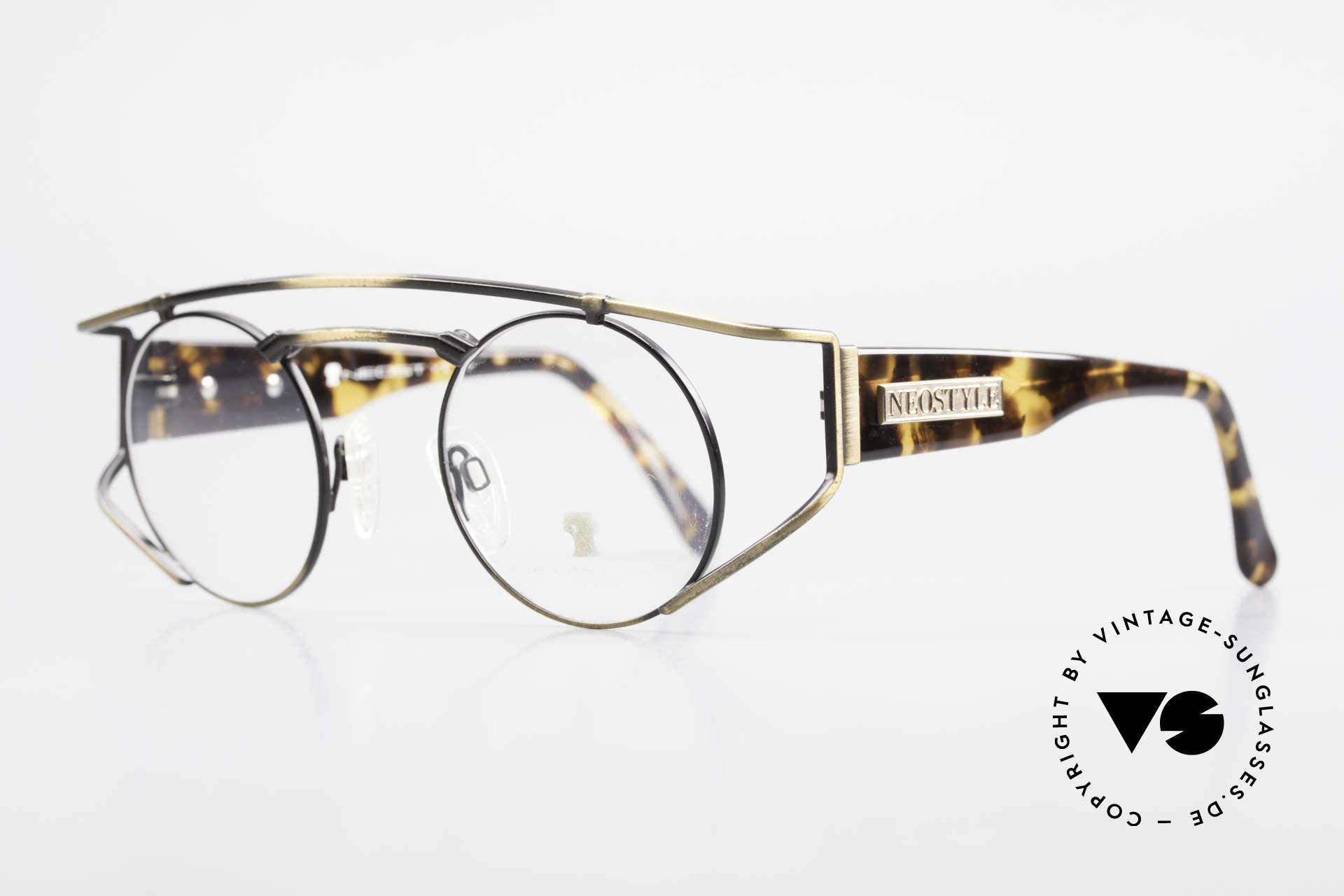 Neostyle Superstar 1 Steampunk Vintage Brille, gelb-bräunlicher Farbton in einer Art 'camouflage', Passend für Herren und Damen