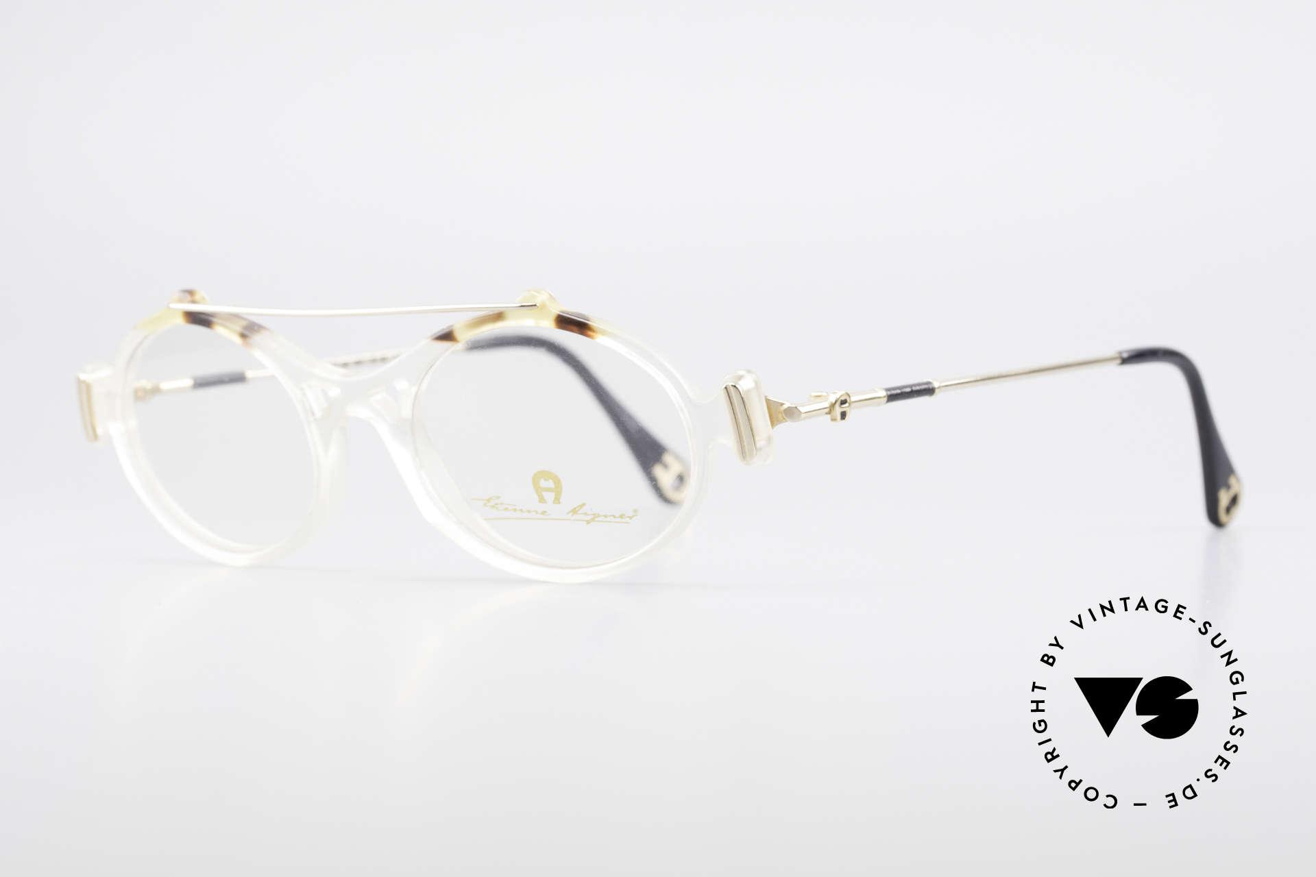 Aigner EA56 Echt 80er Luxus Brillenfassung, wahre Luxus-Brille mit Seriennr.; kostbar & selten, Passend für Damen